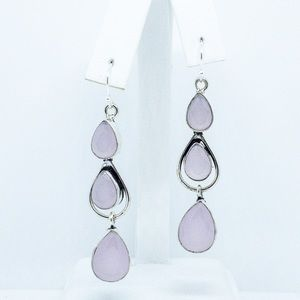 Pink Chalcedony 925 Sterling Silver Earrings